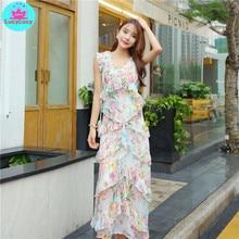 2019 summer new Korean version of womens print layered ruffled design dress female Print  Sleeveless