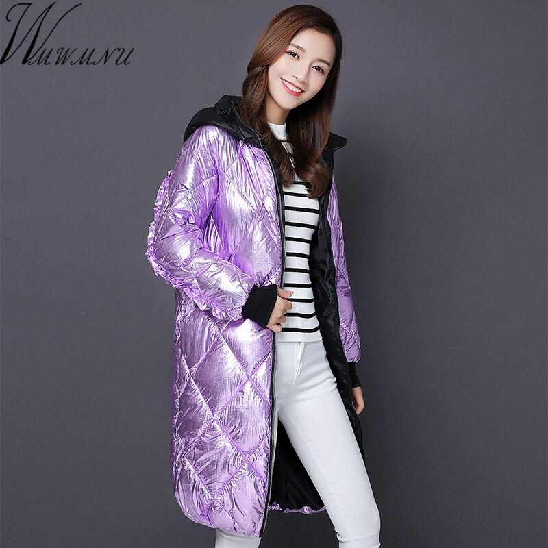 Wmwmnu 2017 Winter Jacket Women Coat Warm Slim Long   Parkas   with a hood Women Luminous fabrics Coats Female fashion Jackets