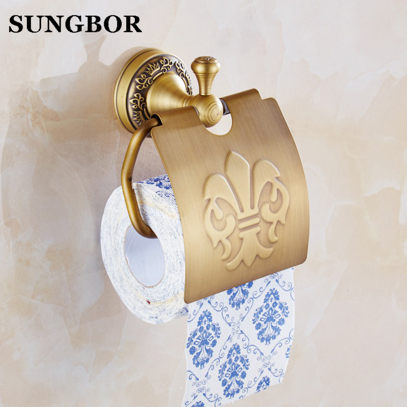 Luxury Solid Brass Roll Toilet Paper Holder Wall Mounted Bathroom Toilet Paper Holder Antique Brass Bathroom Accessories 73608F everso wall mounted toilet paper holder with shelf stainless steel toilet roll paper holder tissue holder bathroom accessories