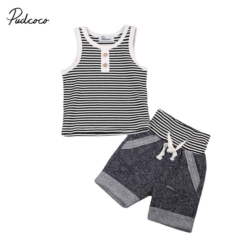 0-4Y Newborn Infant Baby Boys Toddler Summer Clothes Set Kids Cotton Striped Vest Tees Top+Short Pants 2Pcs Outfit Clothing Sets infant toddler kids baby girls summer outfit cotton striped sleeveless tops dress floral short pants girls clothes sunsuit 0 4y