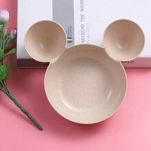 Малыш мультфильм для мыши тарелка «Микки Маус» посуда Ланч-бокс Малыш Дети младенец ребенок риса миска для кормления пластиковая тарелка для закусок посуда