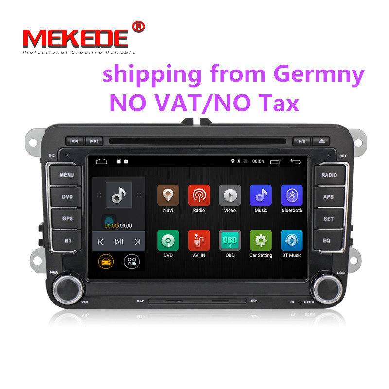 7 inch Android 7.1 2din Car GPS navigation Player for VW Caddy EOS Golf Jetta Passat tiguan polo golf 5 with DVD BT radio stereo bluetooth link car kit with aux in interface & usb charger for vw bora caddy eos fox lupo golf golf plus jetta passat polo