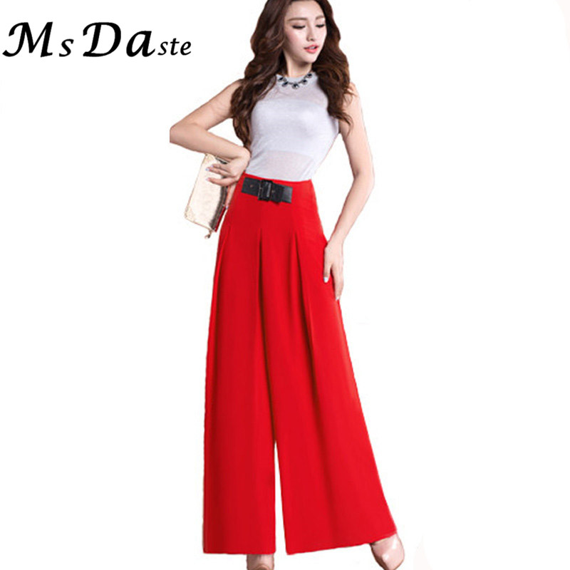2017 New Spring Flare Wide Leg Women Pants Trousers High Waist Chiffon Office Trousers Palazzo Plus Size Red Black Blue Green