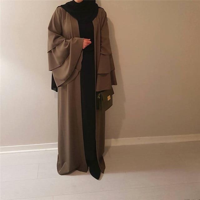 Muslim Tumpet Sleeve Cardigan Abaya Maxi Dress Long Robe Gowns Tunic Kimono Middle East Ramadan Arab Islamic Prayer Clothing 4