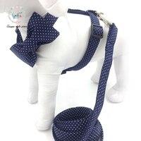 Punto azul arnés del perro con el bowtie o arnés sin bowtie básica correa de perro hebilla de metal ajustable suministros para mascotas