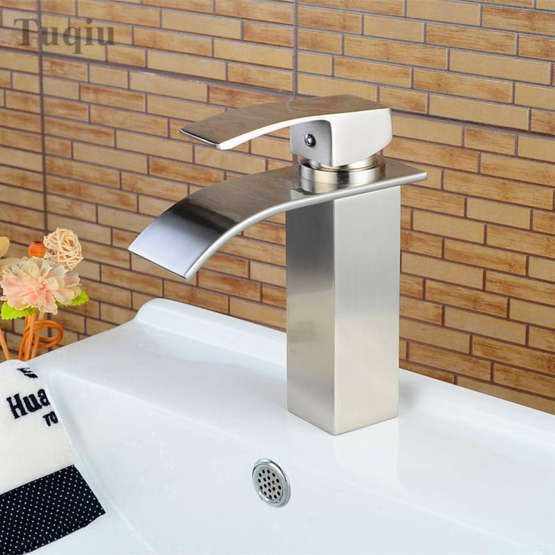 Free Shipping bathroom faucet  high quality brass nickel finished bathroom sink waterfall faucet basin faucet luxury water tap free shipping high quality chrome finished brass in wall bathroom basin faucet brief sink faucet bf019
