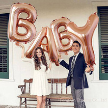 цена на 40 inch baby balloon balloon rose gold letters aluminum film suit baby one hundred days birthday decorations