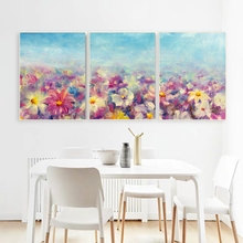 Laeacco Canvas Calligraphy Painting 3 Panel Flower Garden Posters and Prints Wall Art Nordic Home Living Room Decoration