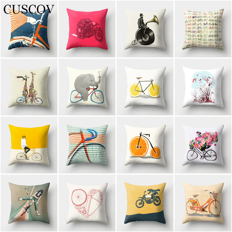 CUSCOV creative animal polyester sofa cushion cover geometric bicycle picture wedding decoration pillow case seat