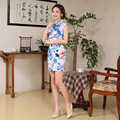 Women Short Chinese Traditional Dress Printing Flower Summer Cheongsam Dress Retro Slim Female Qipao Chinese Oriental Dresses 18