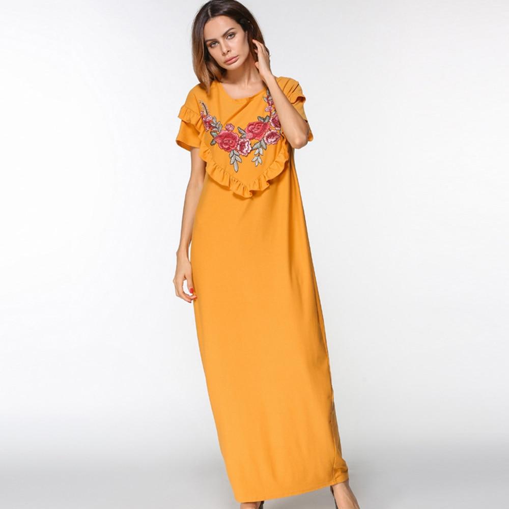 Maxi Dress women embroidery Muslim Abaya O neck long dress patchwork short Sleeve Loose Middle East Islamic Casual dress Summer