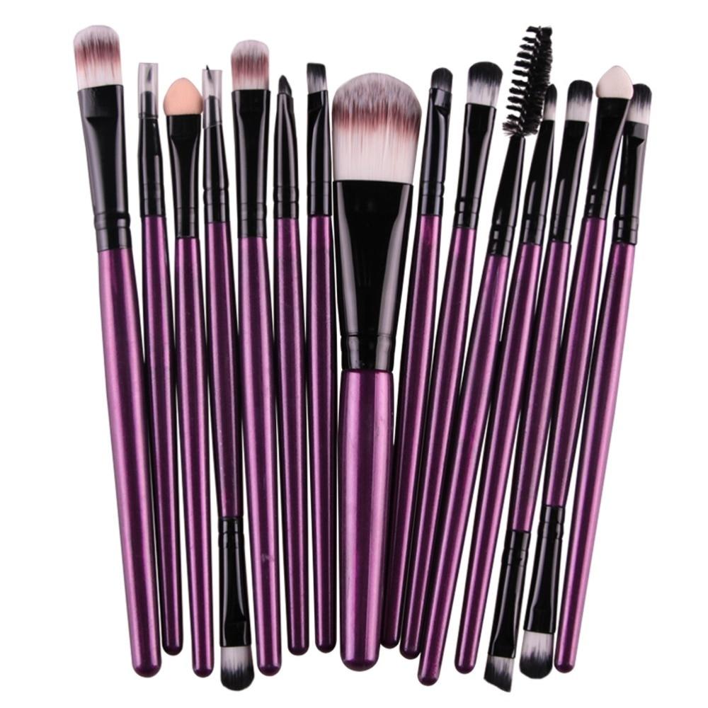 GUXUNER 8/15pcs Makeup Brushes Set Eyeshadow Blending Brush Foundation Eyebrow Lip Eyeliner Brush Cosmetic Tools