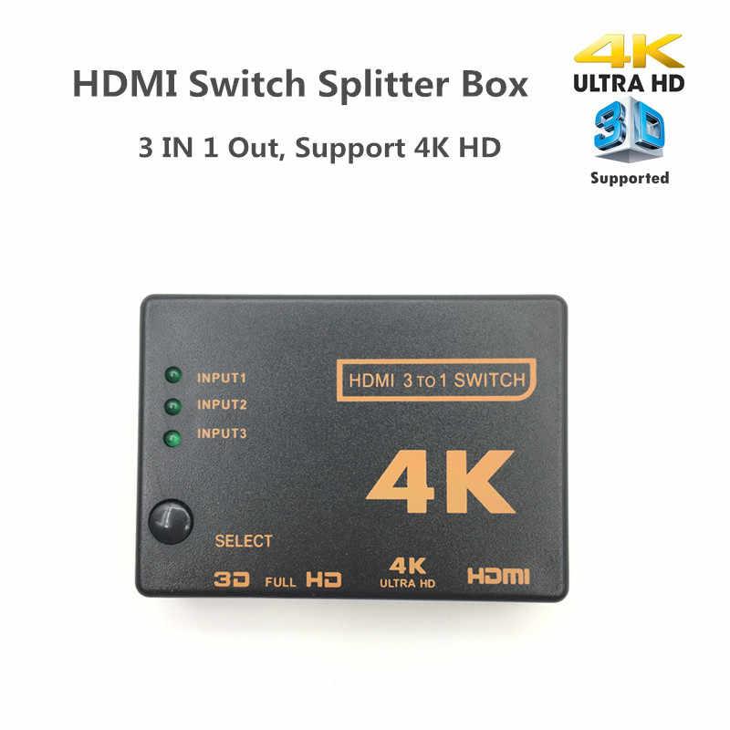Mini de 3 puertos interruptor HDMI 1.4b 4k * 2k 3D conmutador HDMI Splitter 3 en 1 Port Hub para Xbox DVD HDTV para PS3 PS4 1080P
