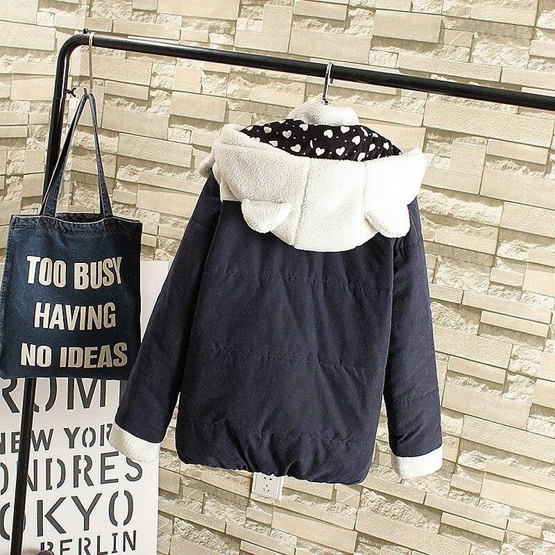 Plus Size Women   Parkas   New Autumn Winter Cute Ears Hooded Coat Slim Casual Short Jacket Warm Female Outwears Lovely Girls   Parkas