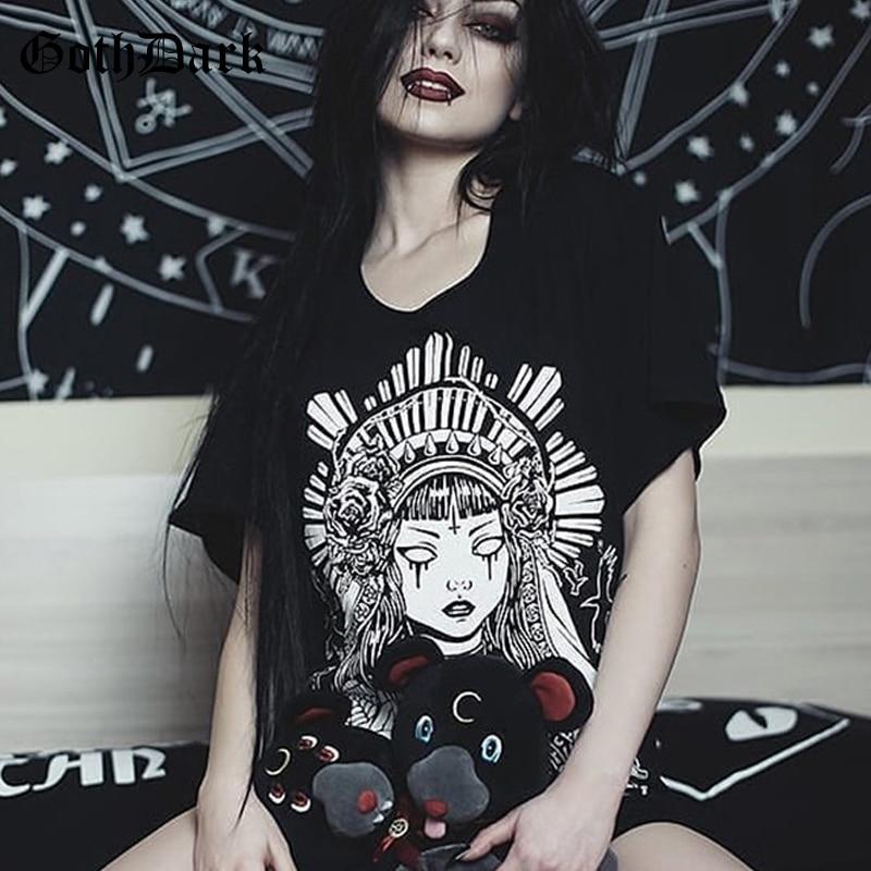 Goth Dark Grunge Black Print T-shirts Gothic Loose Punk Harajuku Streetwear Summer 2019 T-shirt Female Fashion Aesthetic T Shirt