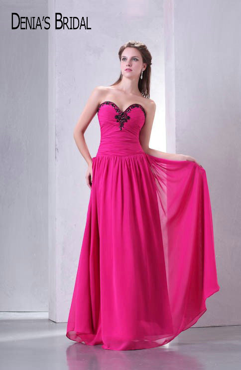 Real Photos Sweetheart Pleats A-Line   Bridesmaid     Dresses   with Black Beads Sleeveless Floor-Length Long Party Gowns