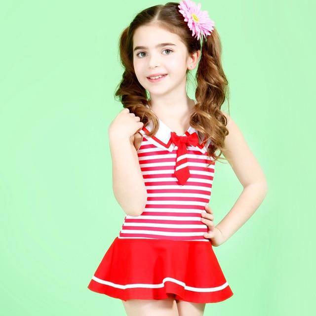 Lovely Uk Style Navy Stripes Girls Swimwear Cute Baby Girl -8896