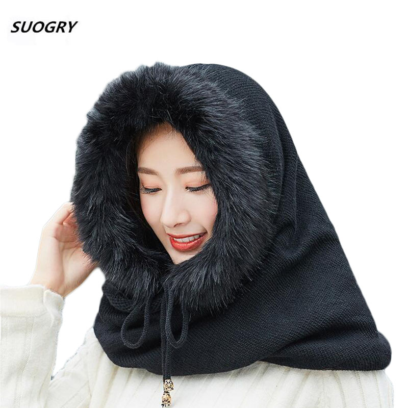 SUOGRY Women Winter Warm Knitted Hat Scarf Set Outdoor Sport Plus Plush   Skullies     Beanies   Caps Hooded Scarves Women's Hat