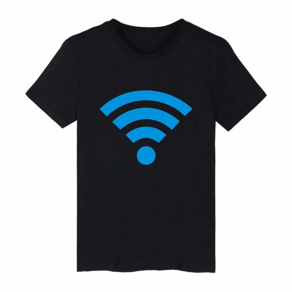 Klasyczny bezpłatne WiFi T-shirt mężczyźni marka koszulki z krótkim rękawem z śmieszne drukowane T Shirt mężczyzn w kolorowe Tee koszula długi plus rozmiar
