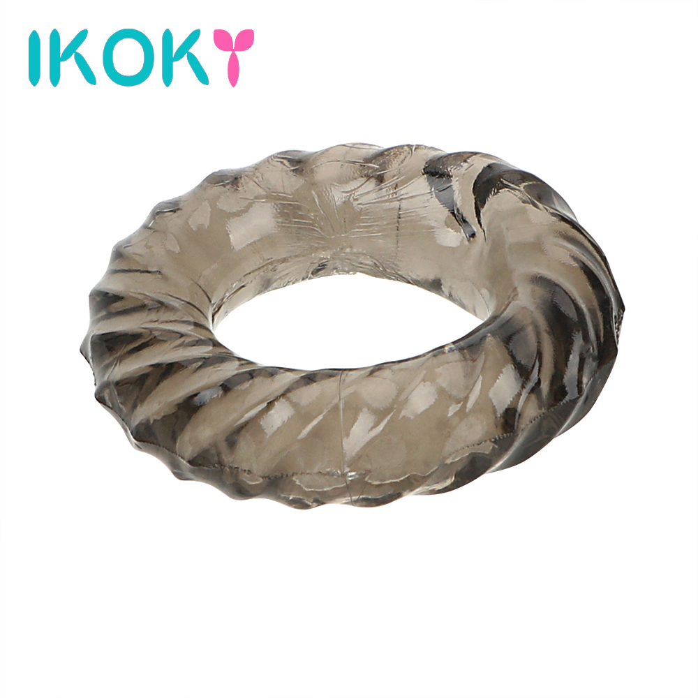 IKOKY Silicone Elastic Penis Ring Delay Ejaculation Sex Toys For Men Male Adult Products Cock Ring Male Longer Lasting