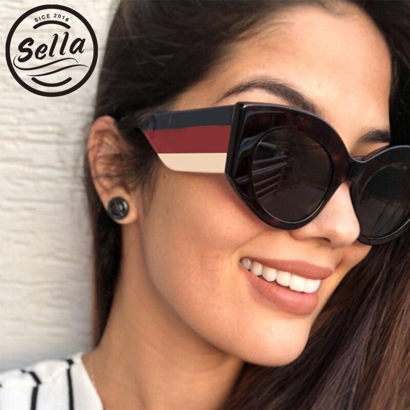 dffa1ceeec715 Sela Estilo Europeu de Moda de Nova Mulheres óculos de Sol Cateye Triplo  Cor Stripe Ampla Pernas Óculos de Sol Marca de Luxo Designer de Óculos