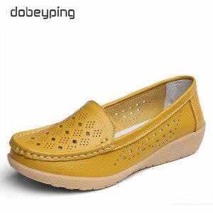 Image 4 - Туфли dobeyping женские летние из натуральной кожи, Мокасины, перфорированная подошва, лоферы, обувь на плоском ходу, Размеры 35 41