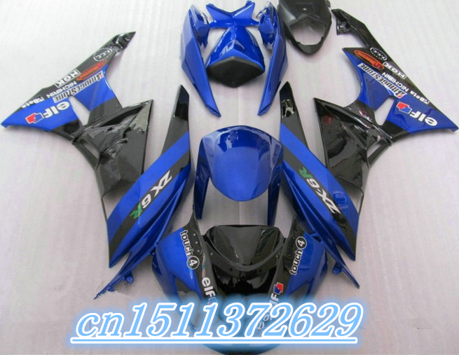 Bo 100% de venda barato motocicletas da repsol ZX r 2009 2012 kawasaki ninja ZX r ZX6R 6 azul carenagem corpo preto parte três