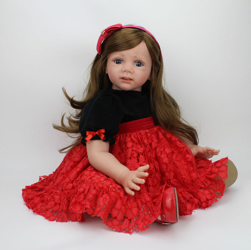60cm Reborn Toddler Doll Big Girl Vinyl Soft Lifelike Babies Toys Long Hair Wig Fridolin Baby