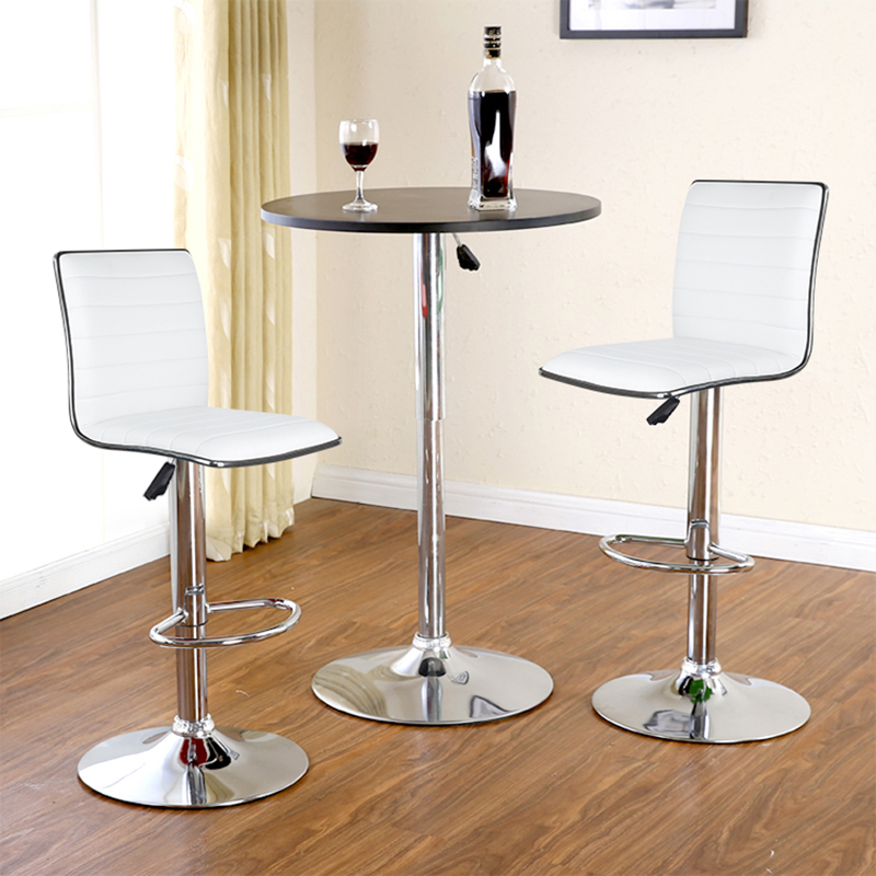 JEOBEST 2pcs/Set White/black Bar Chair PU Leather Swivel Bar Stool Height Adjustable Kitchen Counter Pub Striped Chair HWC wahson tufted round back swivel accent chair contemporary adjustable leather chrome vanity chair lounge pub bar bedroom white