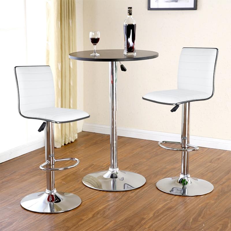 JEOBEST 2pcs/Set White/black Bar Chair PU Leather Swivel Bar Stool Height Adjustable Kitchen Counter Pub Striped Chair HWC