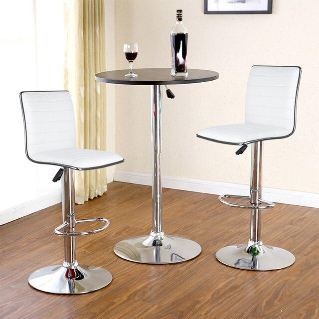 Jeobest 2pcs Set White Black Bar Chair Pu Leather Swivel Bar Stool
