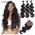 8a grade 3bundles malaysian Virgin Hair With Closure huangcai malaysian body wave With Closure malaysian body wave human hair