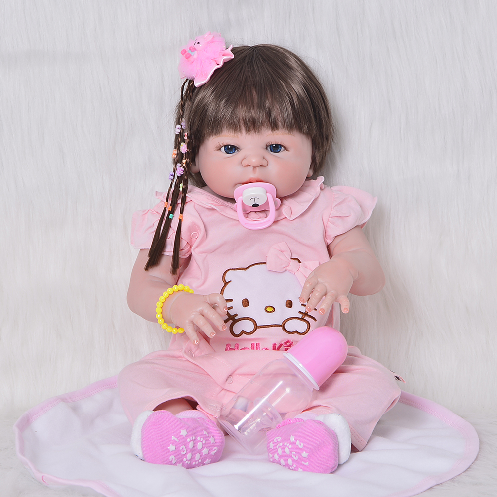 22inch 57cm full Silicone Reborn Baby Doll Toys Vinyl Princess Toddler Girl Baby Doll High Quality Birthday Gift Play House Toy22inch 57cm full Silicone Reborn Baby Doll Toys Vinyl Princess Toddler Girl Baby Doll High Quality Birthday Gift Play House Toy