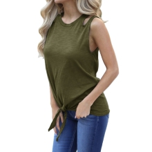 купить KLV Womens Tie Front Knot Sexy Cut Out Shoulder T-Shirts Plus Size по цене 474.03 рублей