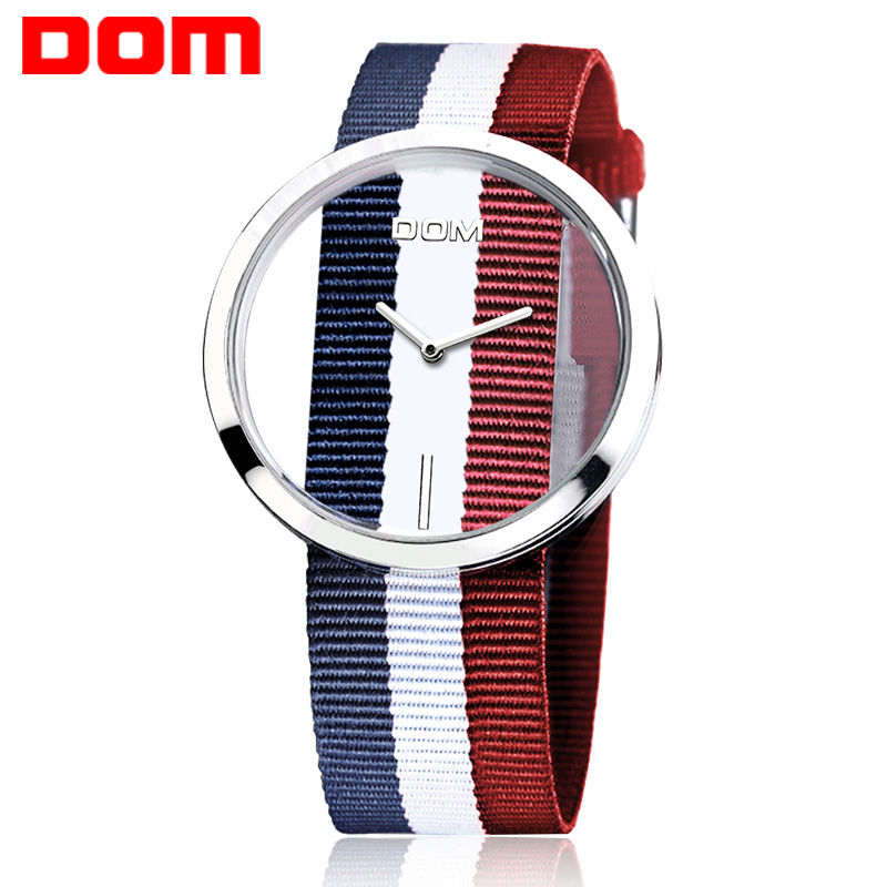 DOM Fashion Lover Watch Quartz Hollow Skeleton Ladies Watches Nylon Sport Casual Unique Stylish Unisex Wristwatches for Couples