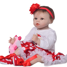 "Cutural 55 cm Baby Reborn Girl Soft Silicone Newborn Doll For Girl 22"" Cute Reborn Baby Doll Cloth Body Kids Christmas Gifts"