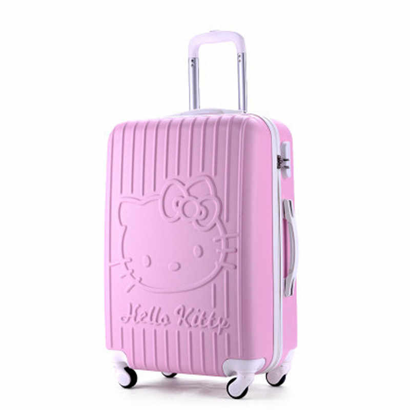 7398f7341 20Inch Travel Suitcase,Spinner 4 wheel,pink Hello Kitty,ABS Luggage Bags,