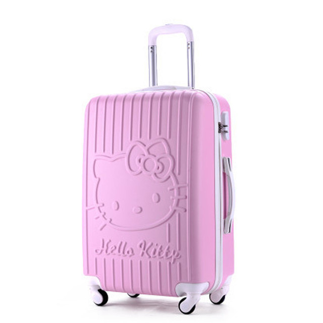 20Inch Travel Suitcase,Spinner 4 wheel,pink Hello Kitty,ABS Luggage Bags,Rolling Luggage,Women and Girls Trolley Case 2015