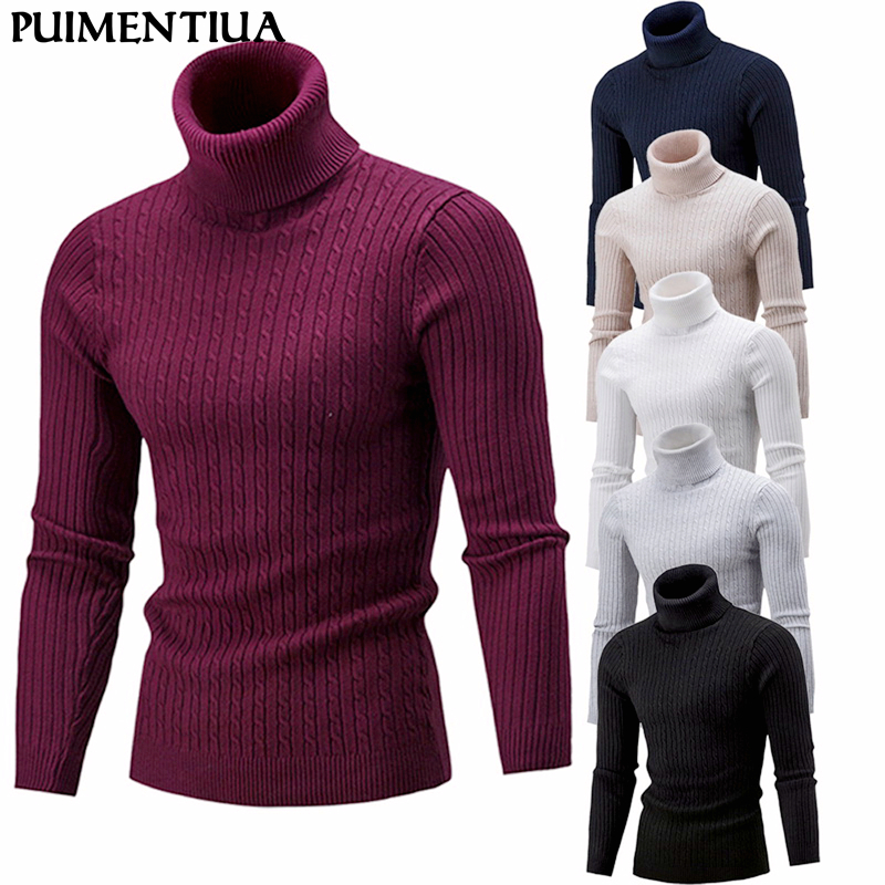 Puimentiua 2019 Autumn Men's High Neck Sweater Male Solid Simple Slim Fit Hedging Turtleneck Knitted Long Sleeve Pullover Top