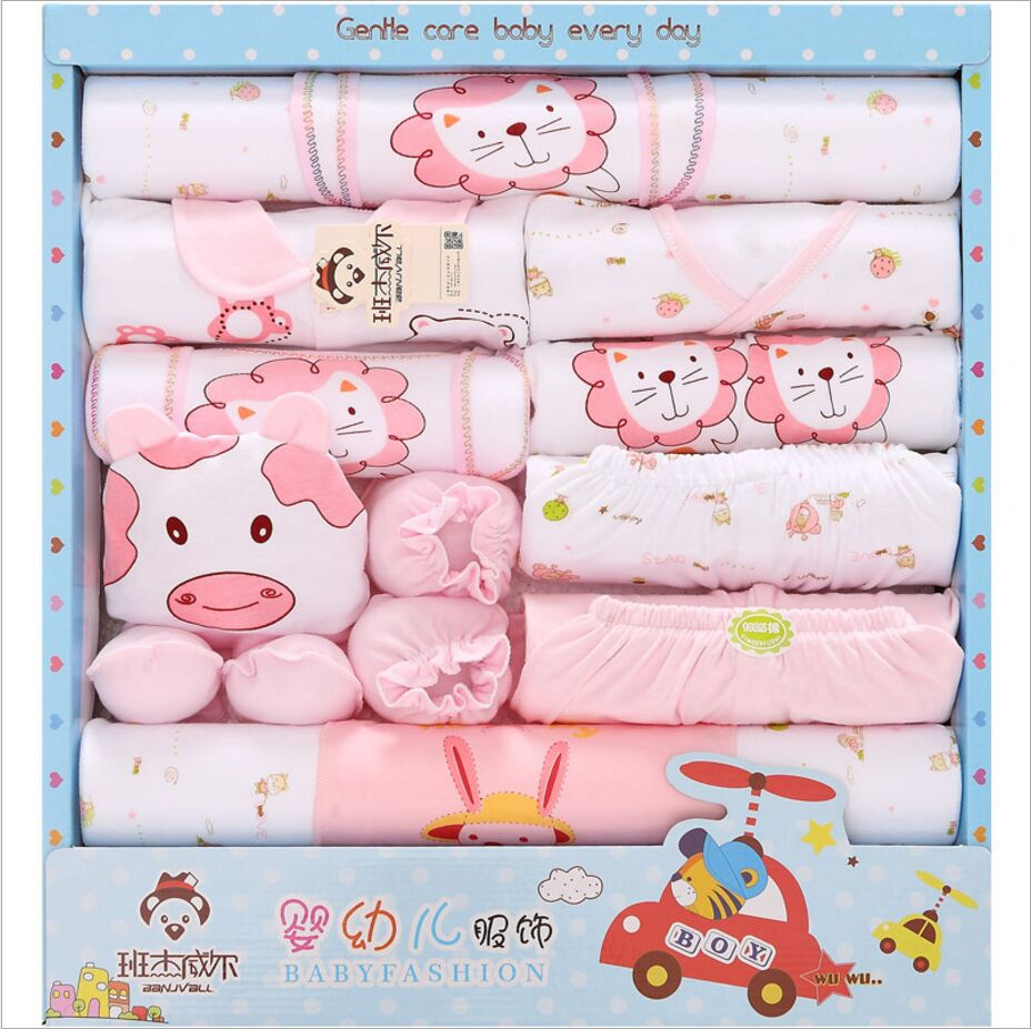 100% Cotton Summer Baby Brand Newborn Baby Clothes Set Clothes Baby Cute Cartoon Long Sleeve Baby Set 18 Piece Fit 0-12 month