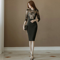 YaLiShi Black Lace Dress Summer Womens 2018 Solid Bodycon Vintage Sexy Club Dresses Vestidos socialite Big Size Pencil Dress