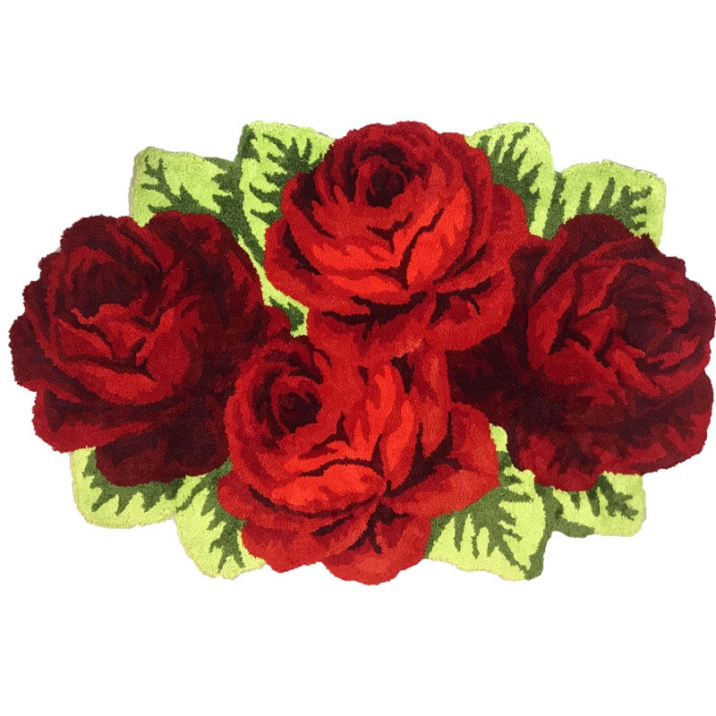 Пушистый Плюшевый красный розовый свадебный ковер мягкий ворсистый микрофибра нескользящий коврик для ванной коврик моющийся абсорбент ковер для гостиной/спальни - Цвет: Four Roses
