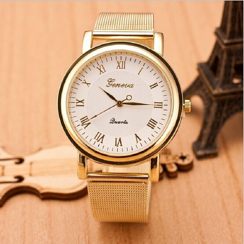 New GENEVA Watch for Men Women Mesh Alloy Quart Golden Silver Clock Timepiece Wrist Watches relogio feminino Timer