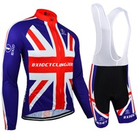 BXIO Brand Long Sleeve Cycling Sets Pro Team Bicycle Clothes England MTB Bike Jerseys Ridding Wears Bretelle Ropa Ciclismo 071