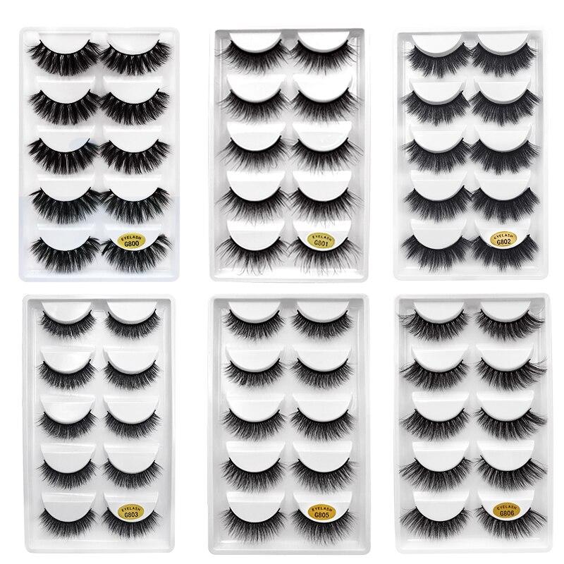 5 Pairs Natural False Eyelashes Fake Lashes Long Makeup 3d Mink Lashes Extension Cilio Faux Eyelashes Mink Eyelashes For Beauty