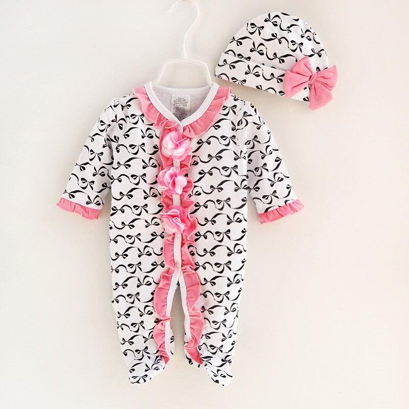 ffe39fed791 Musim semi Musim Gugur Bayi Perempuan Rompers Cetak Overal Panjang Lengan  Baju Monyet Bayi Baru Lahir