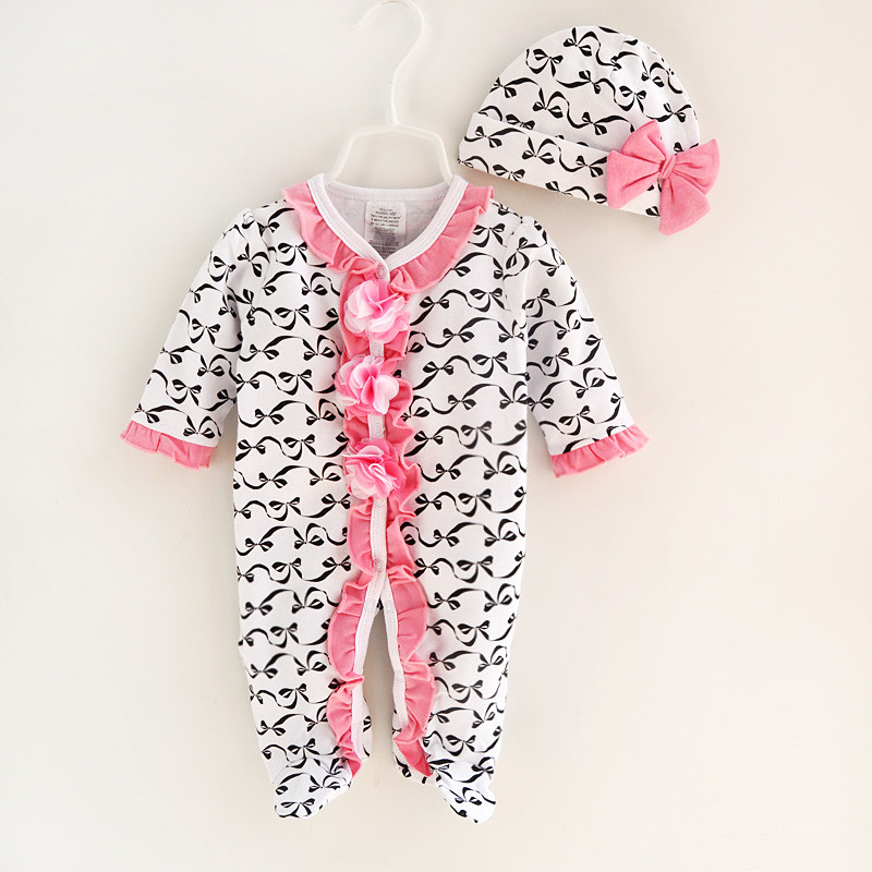 Spring Autumn Baby Girl Rompers Print Infant Newborn Jumpsuit Overal Long Sleeve Romper & Hat Bow Baby Girls Clothing Sets free shipping new 2017 spring autumn baby clothing infant set gift baby jumpsuits newborn romper 4pcs set 2pcs romper hat bib