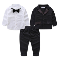 Mudkingdom Baby Jongens Past Formele Party Wedding 3 Stks Kleding Kids Wit Boog Shirts Notched Blazers Solid Broek Verjaardag Outfits
