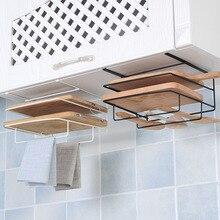 Двухслойная железная полка для кухонных шкафов, разделочная доска, стеллаж для хранения, полки для кухни, держатель, стойка,, черный цвет