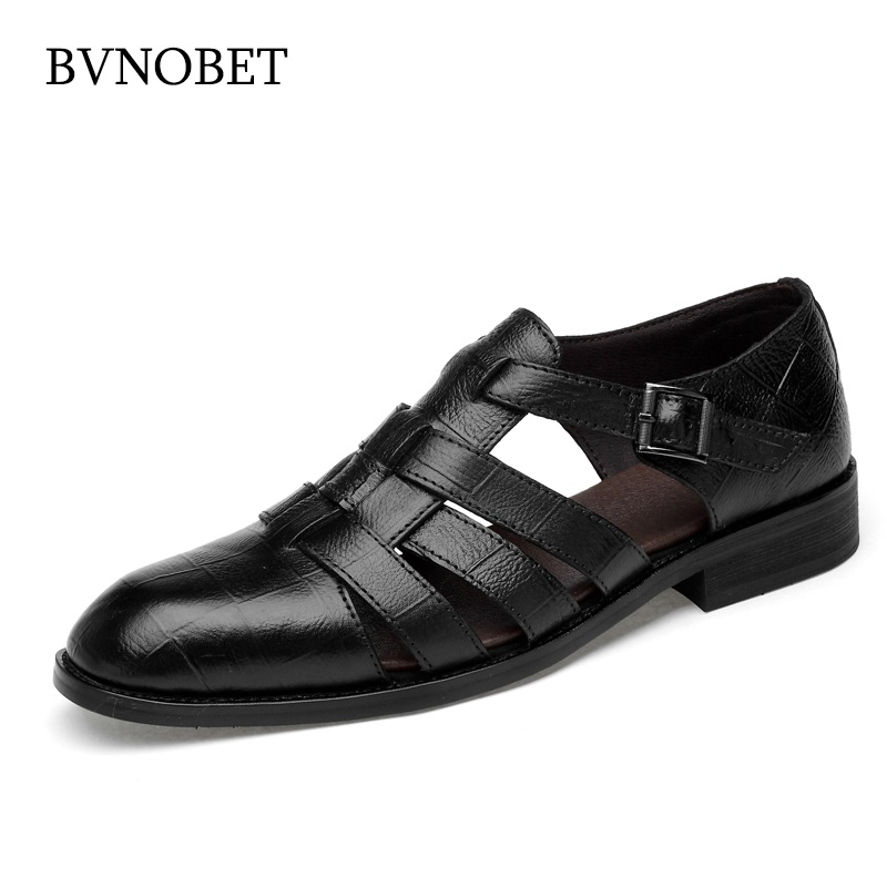 BVNOBET Men Sandals Summer Handmade Men Shoes Genuine Leather Breathable Casual Shoes Man Social Walking Sandals Sendal Pria
